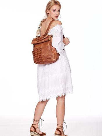 Brązowy plecak damski z eko skóry z plecionką i ażurowaniem
