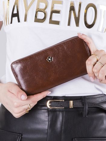 Brązowy portfel damski na suwak
