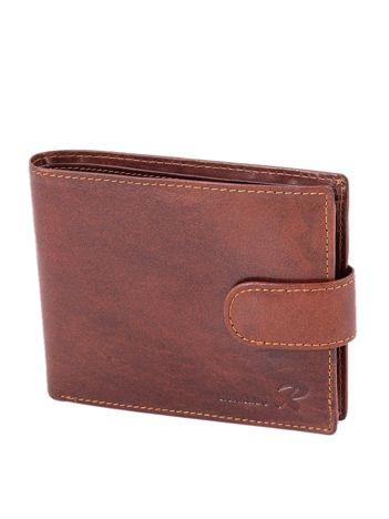 Brązowy portfel skórzany męski z zapięciem