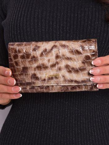 Brązowy portfel z motywem zwierzęcym