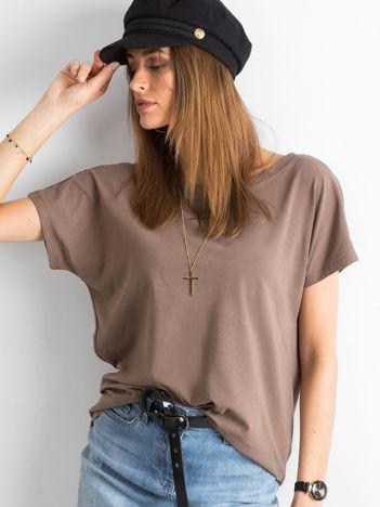Brązowy t-shirt z dekoltem na plecach