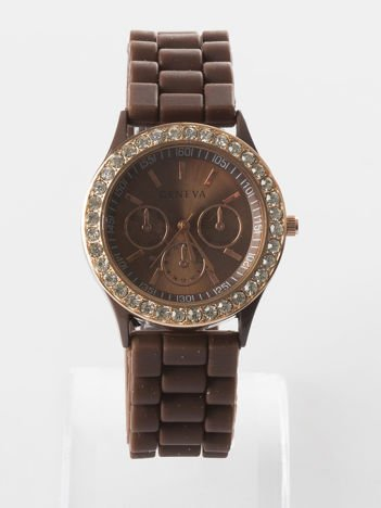 Brązowy zegarek z silikonowym paskiem