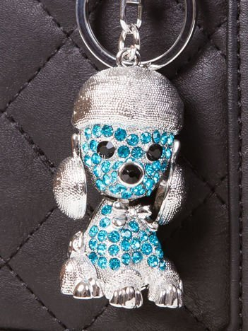 Brelok PUDELEK duży metalowy z cyrkoniami srebrno - niebieski