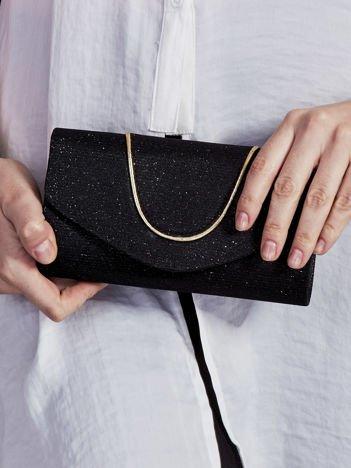 Brokatowa kopertówka z ozdobną lamówką czarna