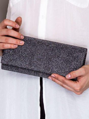 Brokatowa kopertówka ze wzorem w romby ciemnoszara