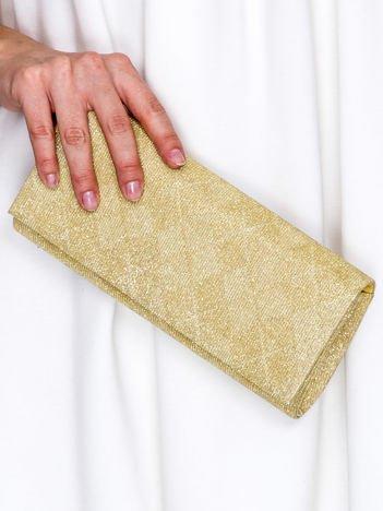 Brokatowa kopertówka ze wzorem w romby złota