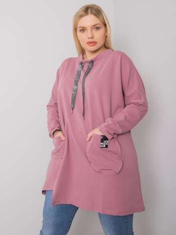 Brudnoróżowa bawełniana tunika plus size Redmond