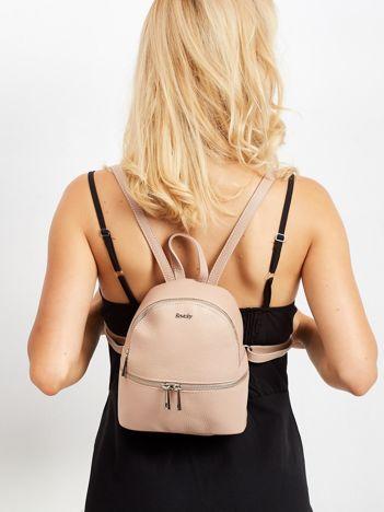 Brudnoróżowy skórzany plecak damski