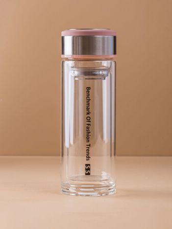 Brudnoróżowy szklany termos