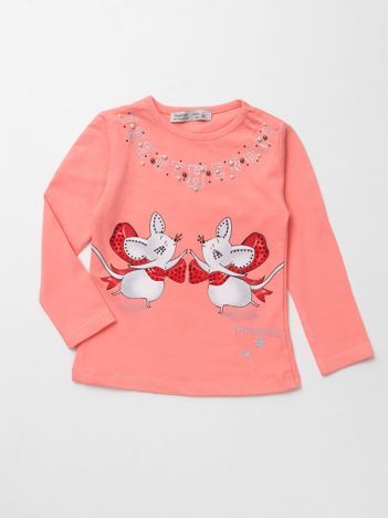 Brzoskwiniowa bluzka dla dziewczynki z aplikacją