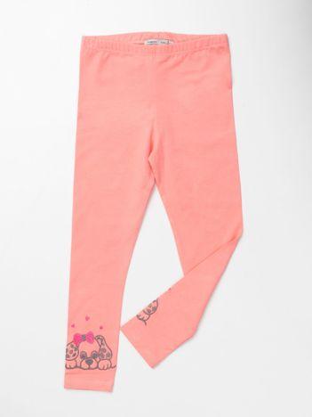 Brzoskwiniowe bawełniane legginsy dla dziewczynki