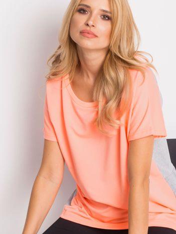 Brzoskwiniowo-szara bluza oversize z krótkim rękawem i falbanką