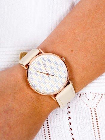 COLORED FOOTPRINTS Jasnobeżowy Damski Zegarek Z Kolorowymi Śladami Stóp