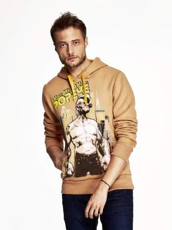 Camelowa bluza z kapturem z motywem Popeye