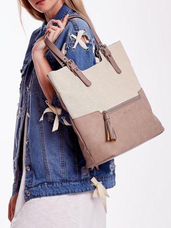 Camelowa torba z materiałową wstawką
