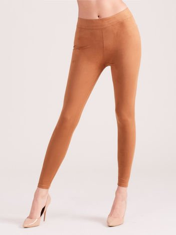 Camelowe legginsy ze sztucznego zamszu