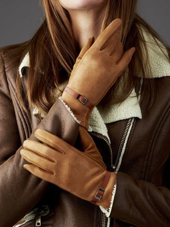 Camelowe rękawiczki damskie z ekologicznego zamszu