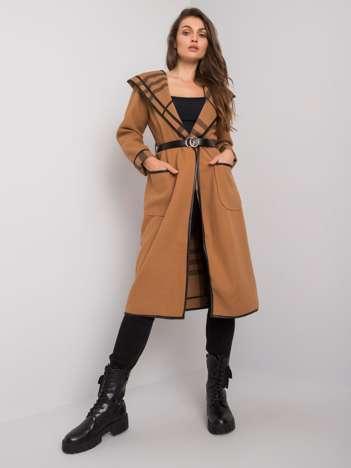 Camelowy płaszcz z kapturem Latesha