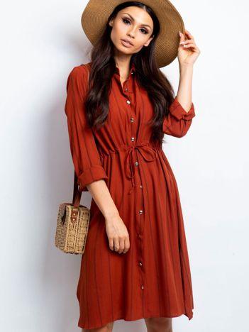 Ceglasta sukienka Recall