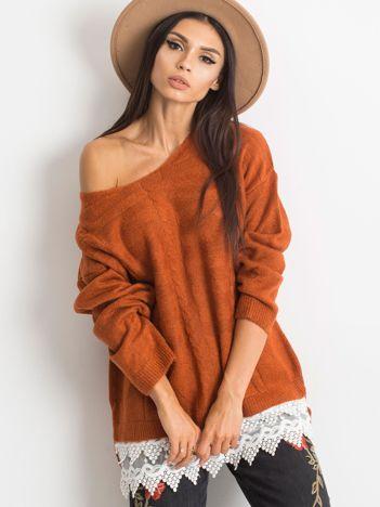 Ceglasty sweter World