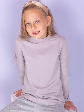 Ciemnobeżowa bluzka dziecięca z półgolfem
