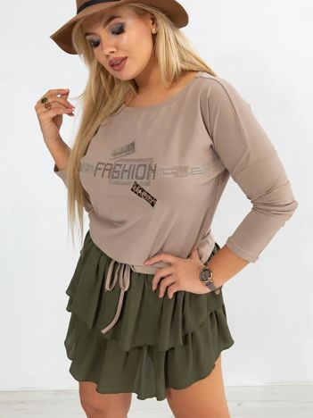 Ciemnobeżowa bluzka plus size Disco
