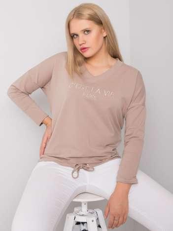 Ciemnobeżowa bluzka plus size z napisem Sherilyn
