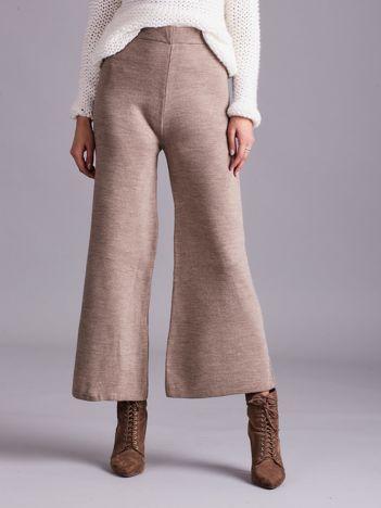 Ciemnobeżowe szerokie spodnie z dzianiny