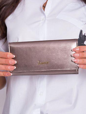 Ciemnobeżowy podłużny portfel damski