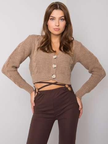Ciemnobeżowy sweter rozpinany Aristide RUE PARIS