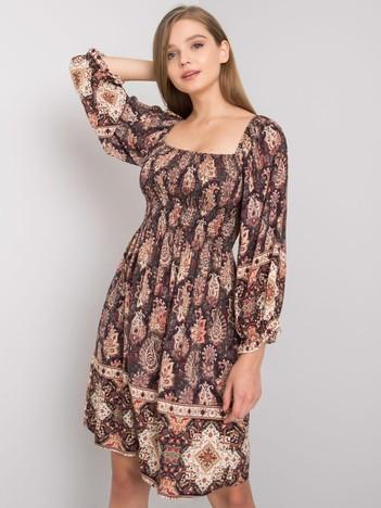 Ciemnobrązowa sukienka we wzory Hayley OCH BELLA