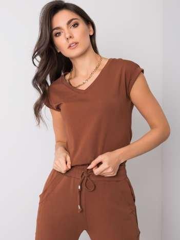 Ciemnobrązowy t-shirt Elisabetta