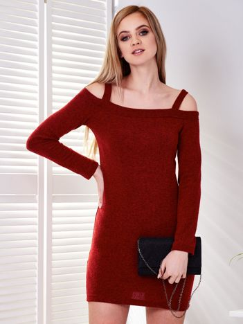Ciemnoczerwona sukienka cold arms