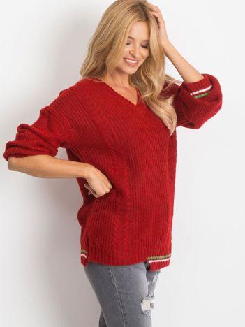 Ciemnoczerwony sweter Romance