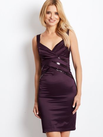 Ciemnofioletowa sukienka z cekinowymi wstawkami
