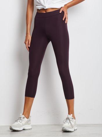 Ciemnofioletowe legginsy fitness 3/4 o średniej grubości