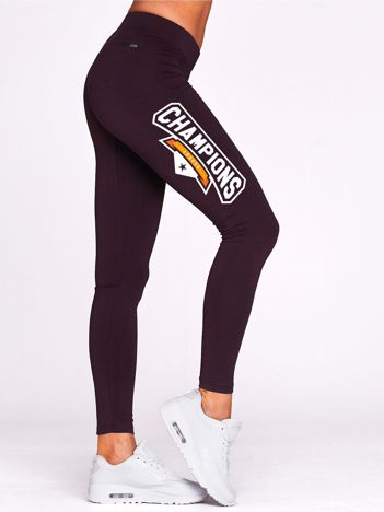 Ciemnofioletowe legginsy na siłownię z nadrukiem CHAMPIONS
