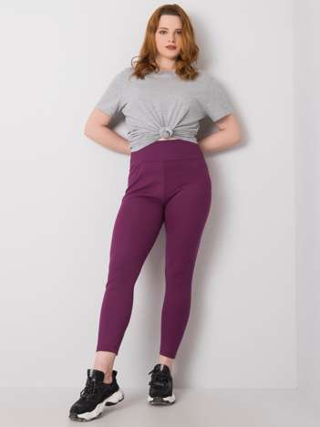 Ciemnofioletowe legginsy plus size w prążek Caitleen RUE PARIS