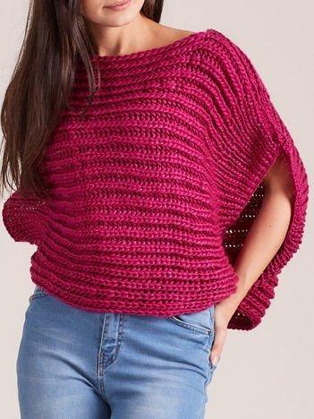 Ciemnofuksjowy sweter kamizelka