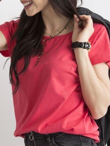 Ciemnokoralowy t-shirt basic
