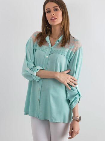 Ciemnomiętowa koszula z długim rękawem