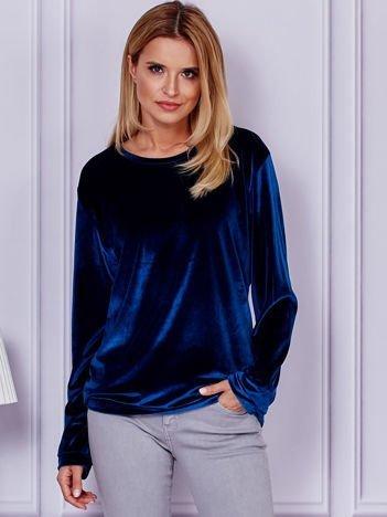 Ciemnoniebieska aksamitna bluza ze ściągaczami