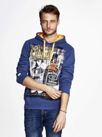 Ciemnoniebieska bluza męska z kapturem z motywem whiskey