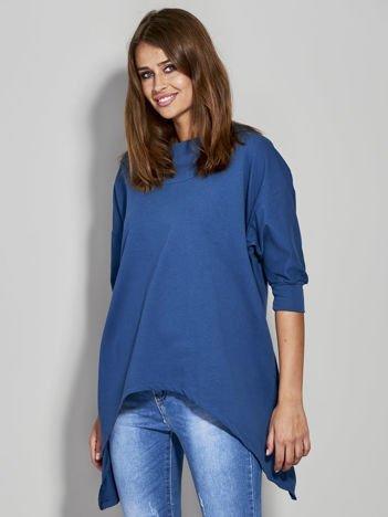Ciemnoniebieska bluza z dłuższymi połami