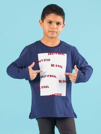 Ciemnoniebieska bluzka chłopięca z napisami