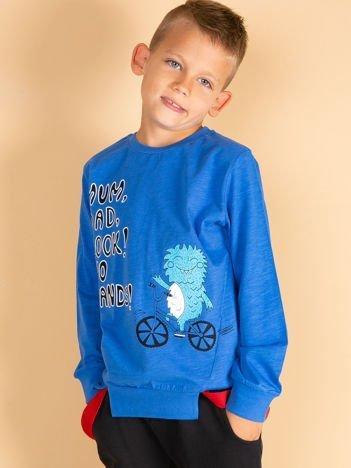 Ciemnoniebieska bluzka dla chłopca z komiksowym nadrukiem