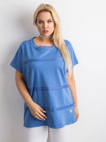 Ciemnoniebieska bluzka plus size z aplikacją