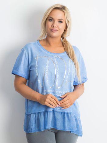 Ciemnoniebieska bluzka plus size z nadrukiem