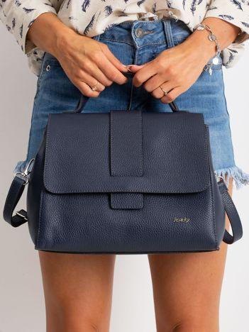 Ciemnoniebieska damska torebka skórzana