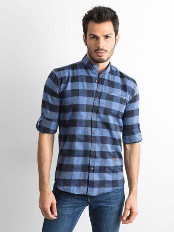 Ciemnoniebieska koszula męska slim fit w kratę